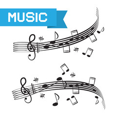 Music - Staff and Notes Vector Illustration