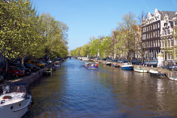 View from a bridge of Amsterdam canal