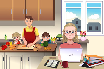 Modern family at home