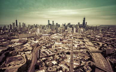 Aerial Chicago skyline- vintage effect