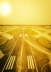 Empty airport runway - vintage effect