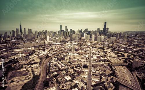 Aerial Chicago skyline- vintage effect