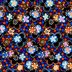 Flowers seamless night pattern