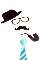 Hat glasses mustache pipe and necktie shapes