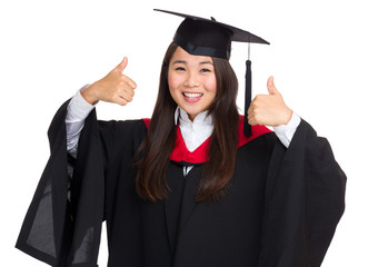 Graduate student show thumb up