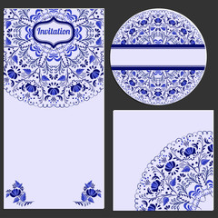 Set invitations cards with a beautiful pattern in Gzhel style.