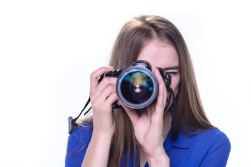 woman taking a photo with a camera on a white background