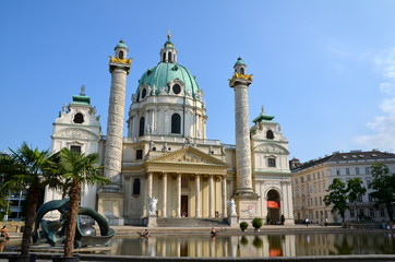 Beautiful view of famous Karlskirche in VIenna