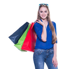Shopping woman excited with shopping bags