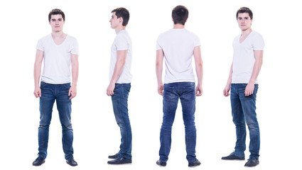 Collage photo of a young man in white t-shirt isolated