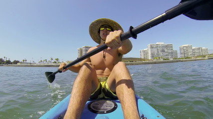 POV Man Kayaking In Summer