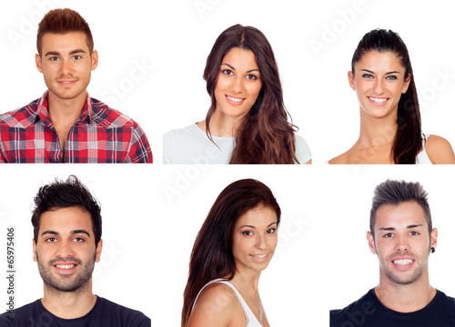 Collage with six images of young people