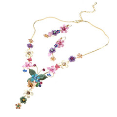 floral necklace and ear rings isolated on white