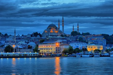 Suleymaniye Mosque in blue night near the golden horse