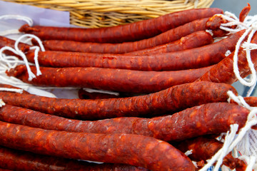 photography of chorizo sausages group