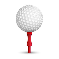 Golf ball with red stand isolated on white background