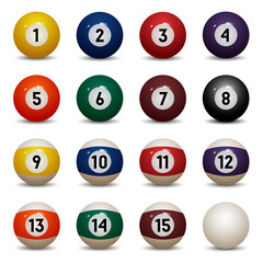 Isolated colored pool balls. Numbers 1 to 15 and zero ball
