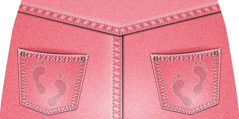 Two rear pink denim pocket