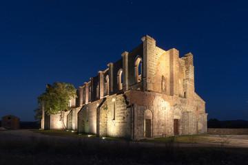 San Galgano roofless Cistercian abbey ruins in Tuscany