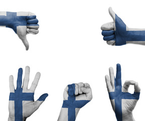 Hand set with the flag of FInland