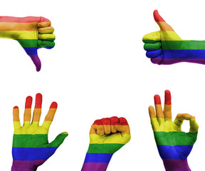 Hand set with the gay pride flag