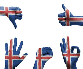 Hand set with the flag of Iceland