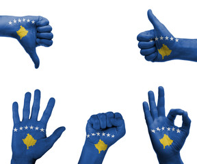 Hand set with the flag of Kosovo