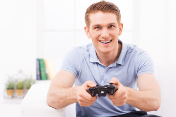 Man playing video game.