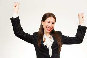 Happy young business woman