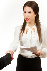 Beautiful young business woman, shaking hands
