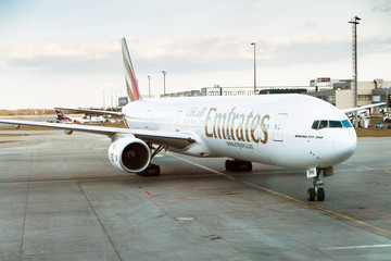 Boeing 777-300 Emirates on the airport, Prague