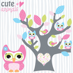 tree with owls vector illustration