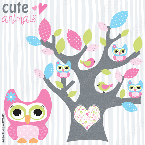 Fototapeta tree with owls vector illustration