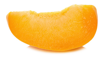 slice of juicy ripe apricot on the white background