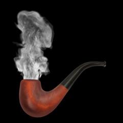 smoking pipe with gray smoke on the black background