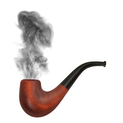 smoking pipe with gray smoke on the white background