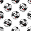 Laughing cartoon soccer ball seamless pattern