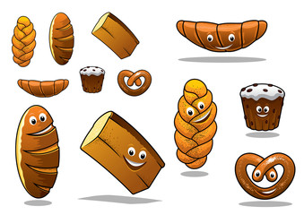 Large set of cartoon loaves of bread