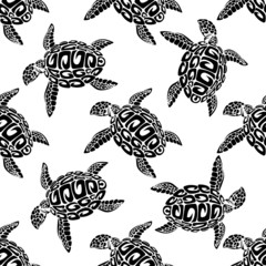 Marine turtles seamless background pattern