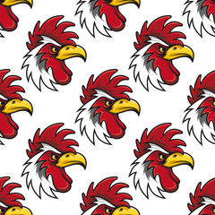 Rooster head seamless background pattern