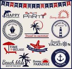 Summer and sea labels, symbols and emblems. Vector design elemen