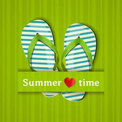 Summer time. Card with flip flops. Vector illustration.