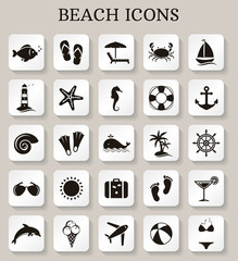 Beach icons. Vector set.