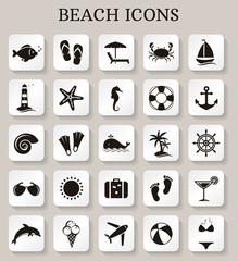 Beach icons. Vector set.