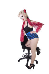 Woman in pin-up swimsuit posing - Isolated