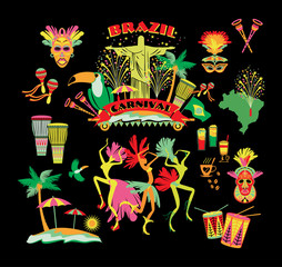 Brazilian Carnival. Vector icon set