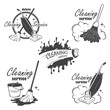 Set of cleaning service emblems, labels and designed elements. - 65981449