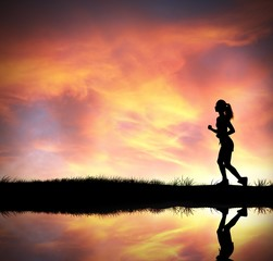 Silhouette of running girl