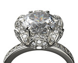 Golden Ring with Diamond. Jewelry background - 65981878
