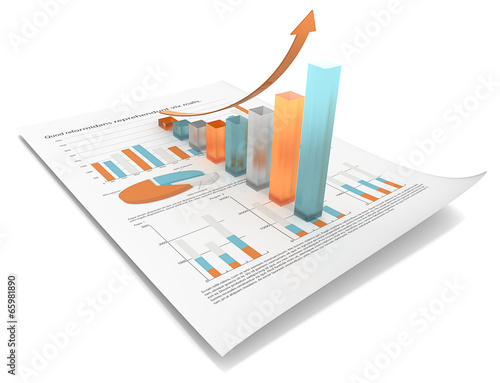 Growth.Multi Color edition.Financial doc,3d graph.Frosted glass - 65981890